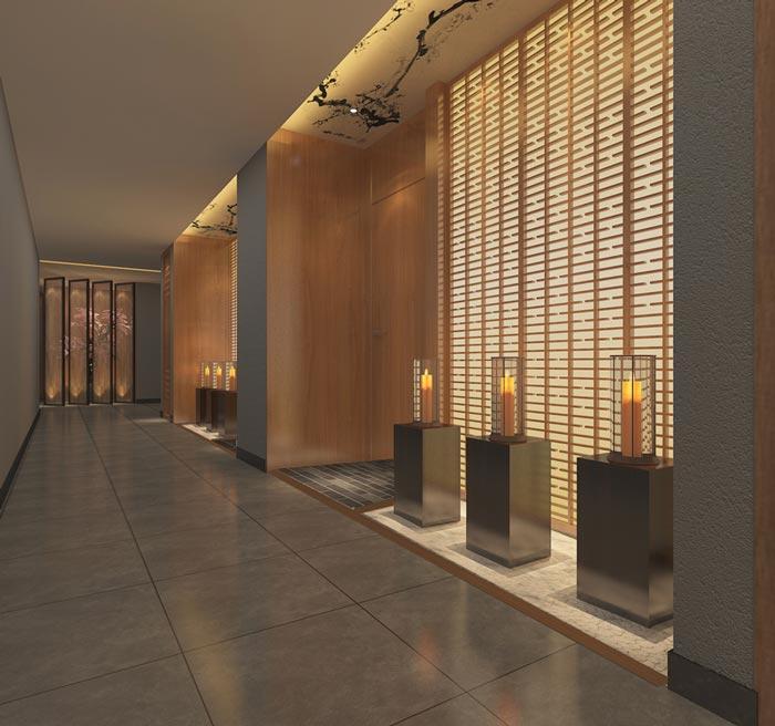 新中式主题酒店展示区装修设计案例效果图