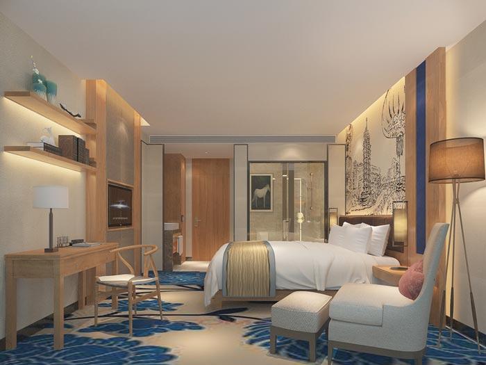 新中式主题酒店客房装修设计案例效果图
