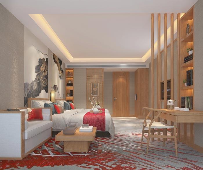 新中式主题酒店双人客房装修设计案例效果图