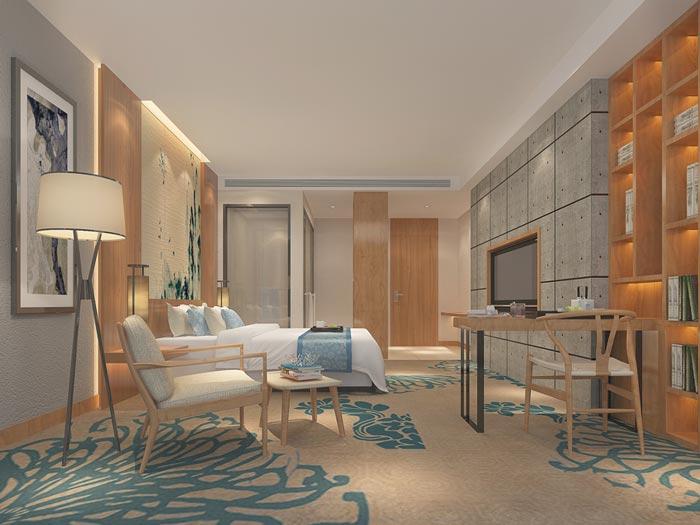 新中式主题酒店单人客房装修设计案例效果图