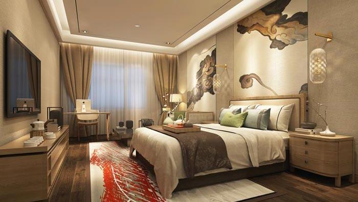 中式風格精品酒店單人客房裝修設計案例效果圖