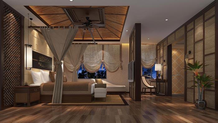 新中式精品酒店套房裝修設計案例效果圖