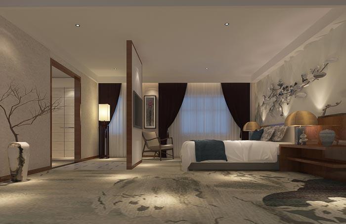 新中式精品酒店客房装修设计案例效果图