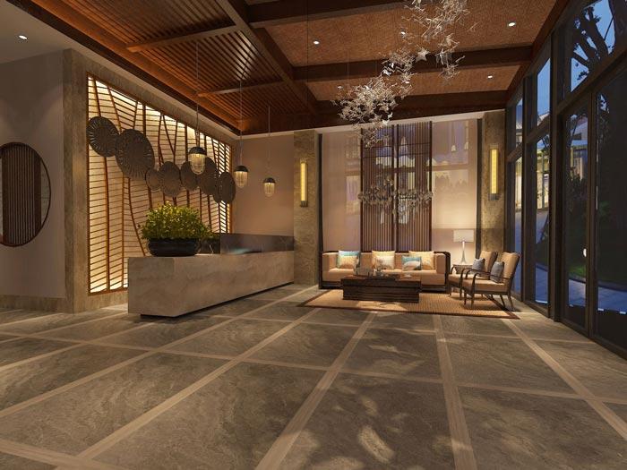 享乐主题酒店前台装修设计案例效果图
