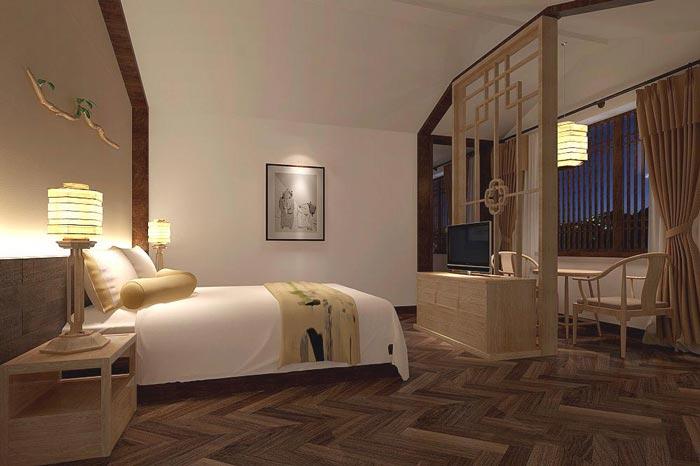 茶文化主題酒店單人客房裝修設計案例效果圖