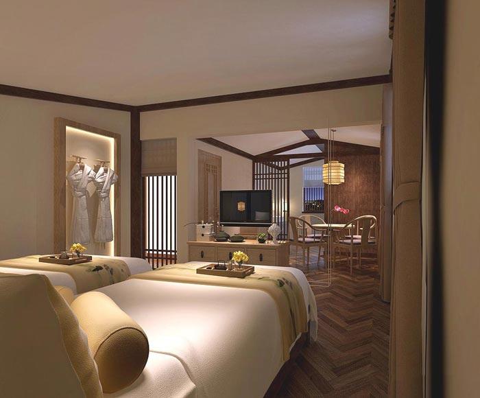 茶文化主题酒店双人套间装修设计案例效果图