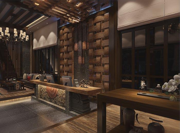 新中式商务酒店前台装修设计案例