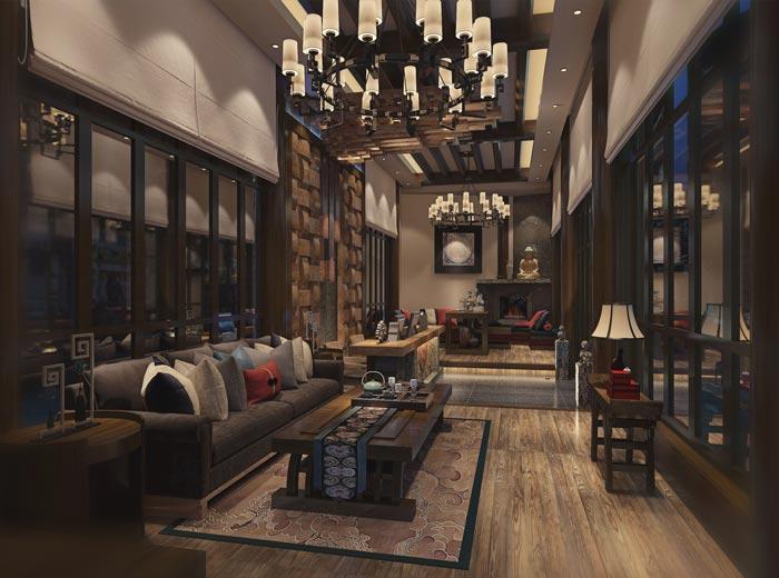 新中式商务酒店前台客厅装修设计案例