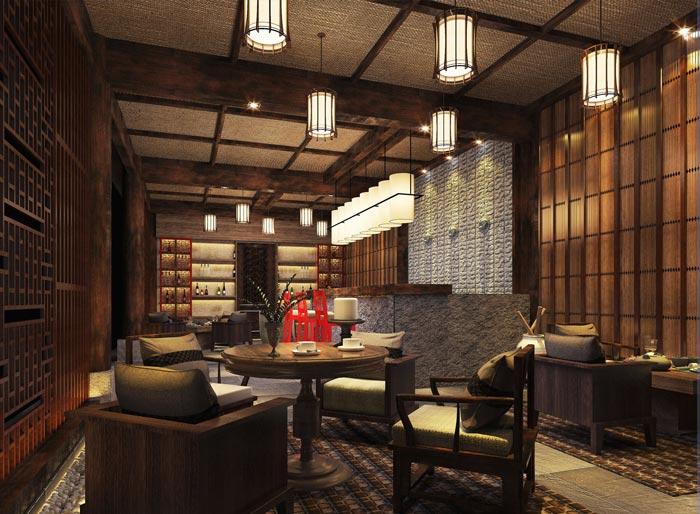 新中式商务酒店酒吧装修设计案例效果图
