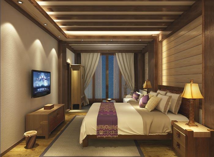 新中式商务酒店单人客房装修设计案例效果图
