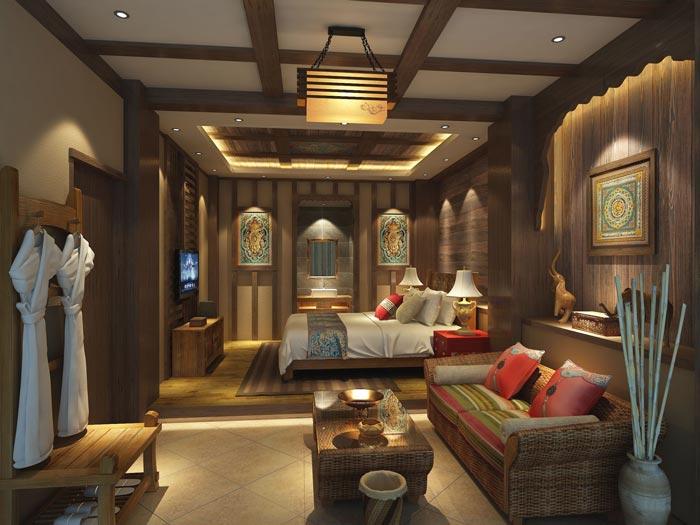 新中式商务酒店特色单人客房装修设计案例效果图