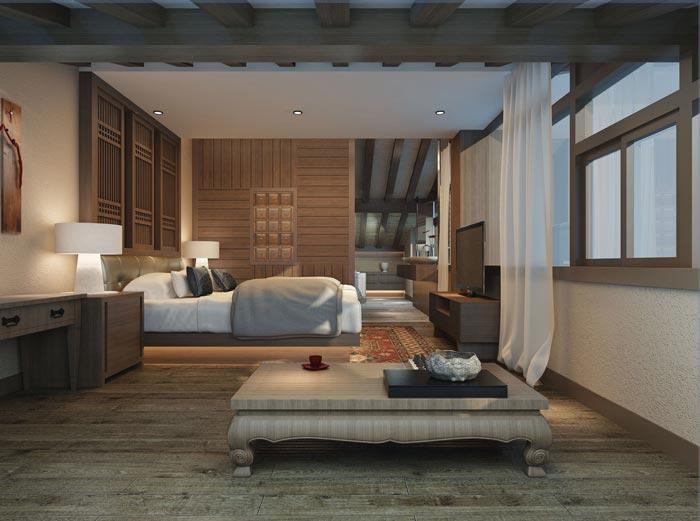 新中式商务酒店套间装修设计案例效果图