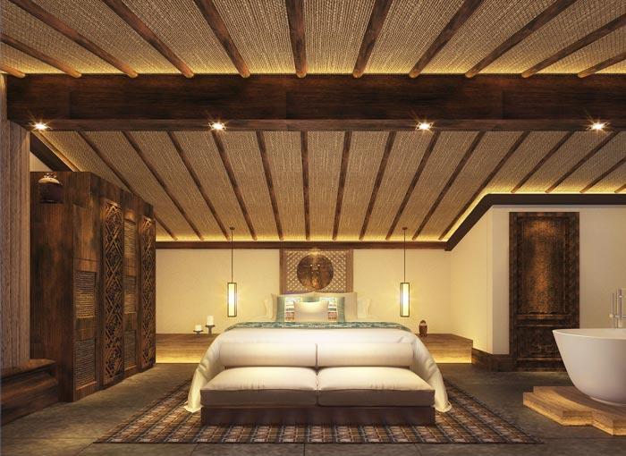 新中式商务酒店大床房装修设计案例效果图