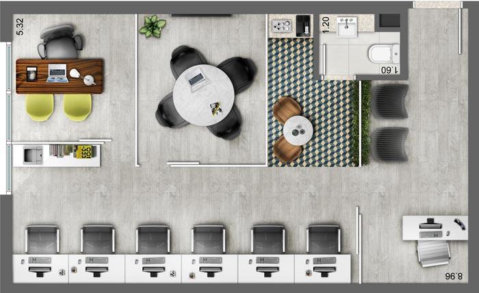 室设计方案:   设计方案1      本次设计面积在100平方长方形办公空间