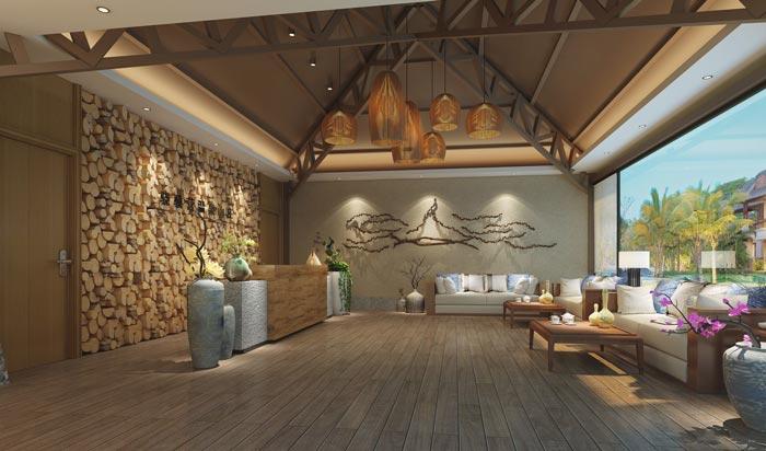 温泉度假酒店前台装修设计案例效果图