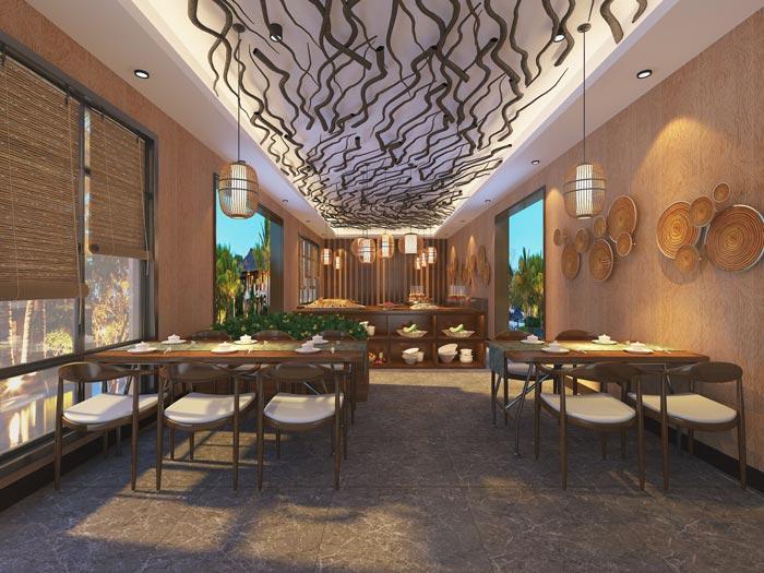 温泉度假酒店餐厅装修设计案例效果图