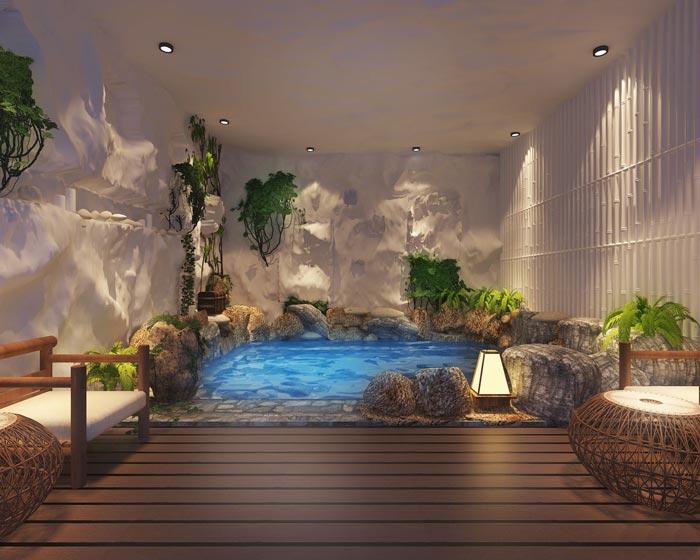 温泉度假酒店室内温泉装修设计案例效果图