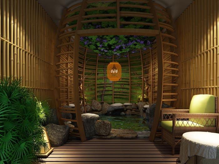 温泉度假酒店野外温泉装修设计案例效果图