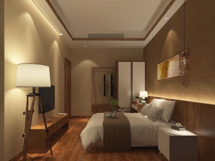 温泉度假酒店客房装修设计案例效果图