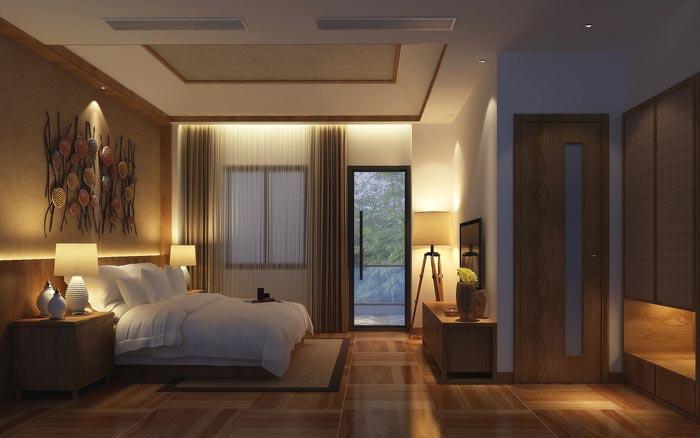 温泉度假酒店单人客房装修设计案例效果图