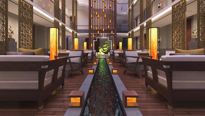 特色度假酒店大厅接待装修设计案例