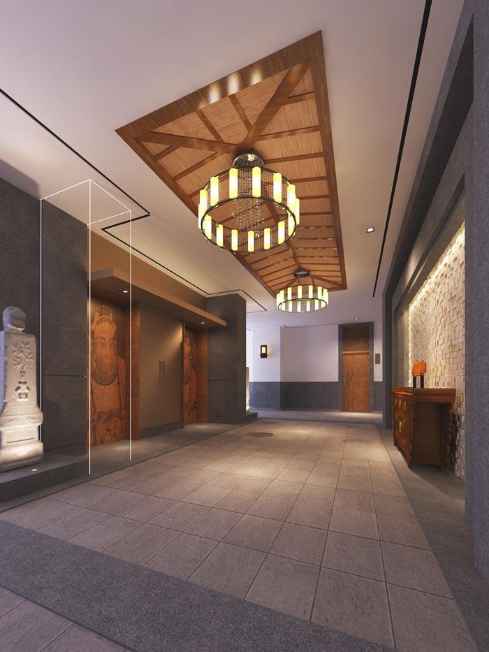 特色度假酒店过道接待装修设计案例