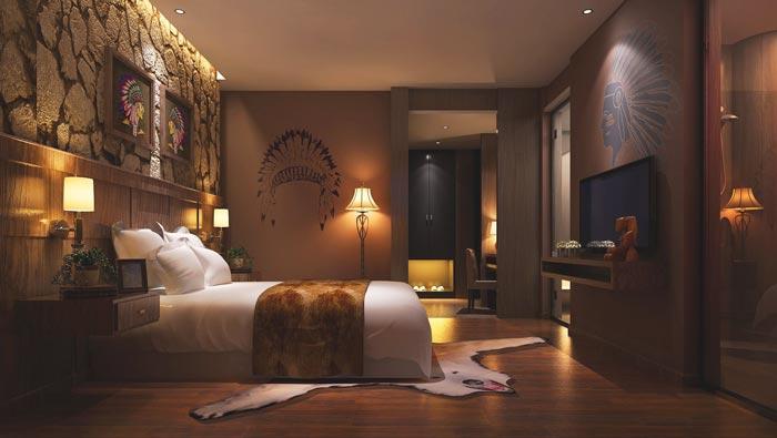特色情侣酒店静怡客房装修设计案例效果图
