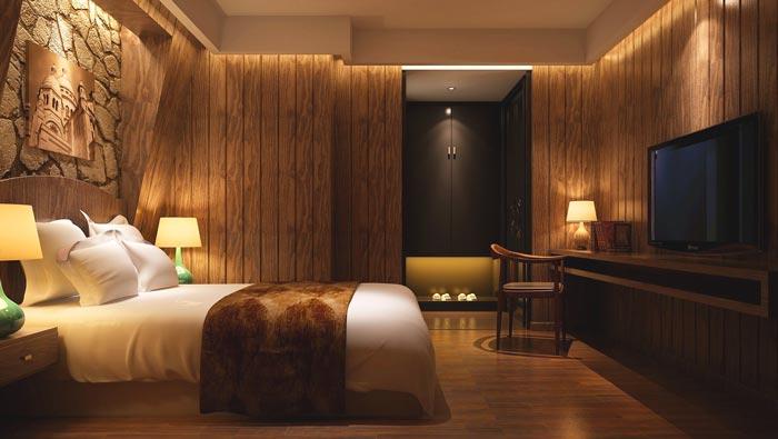特色情侣酒店装修设计案例效果图