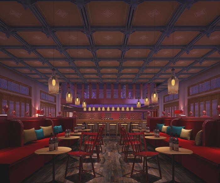 特色情侣酒店大厅装修设计案例效果图