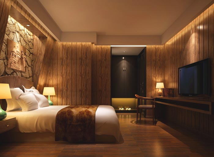 特色情侣酒店客房装修设计案例效果图