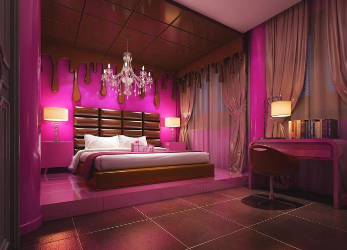 特色情侣酒店少女闺房装修设计案例效果图