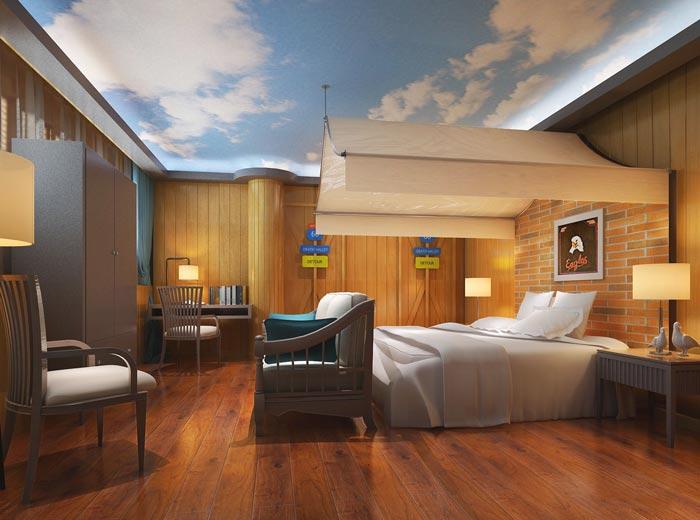 特色情侣酒店未来客房装修设计案例效果图