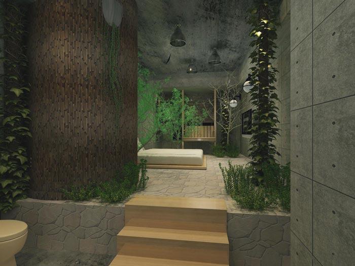 主题情侣酒店原生态客房装修设计案例效果图