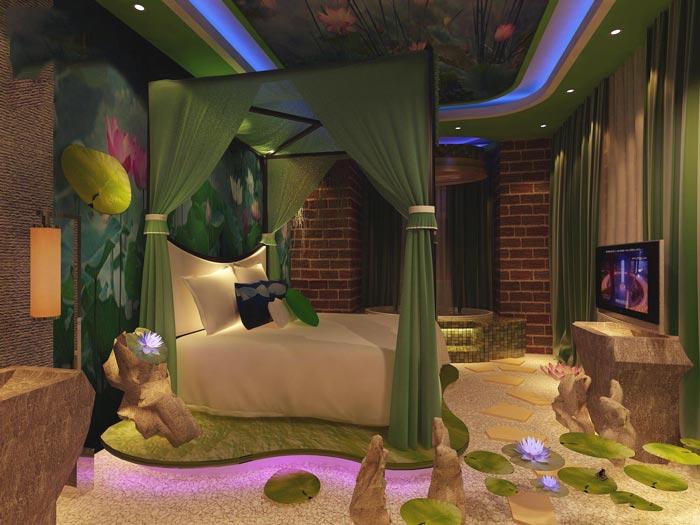 主题情侣酒店荷塘春色客房装修设计案例效果图