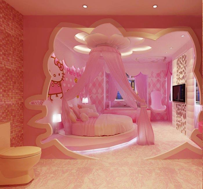 主题情侣酒店Hello Kitty客房装修设计案例效果图