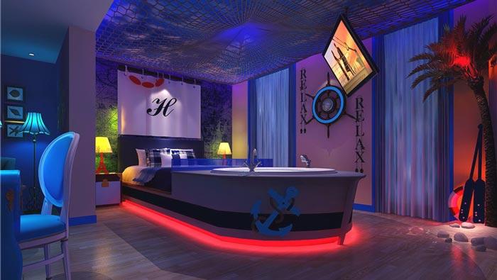 情趣酒店诺曼底号客房装修设计案例效果图
