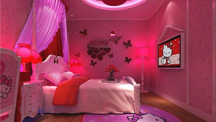 情趣酒店Hello Kitty客房装修设计案例效果图