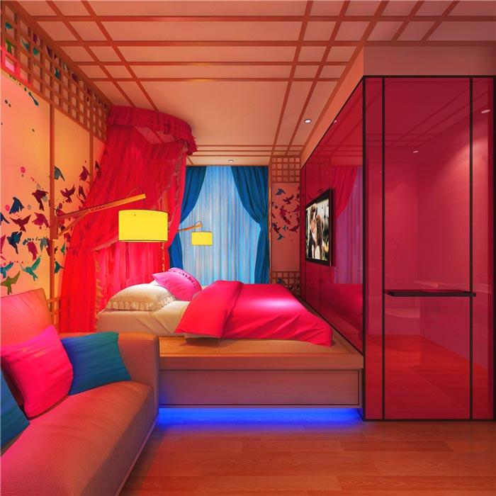 情趣酒店红尘醉梦客房装修设计案例效果图
