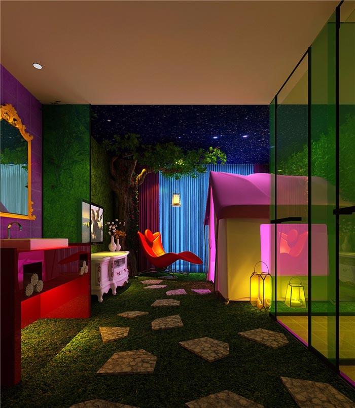 情趣酒店盛夏野趣营房装修设计案例效果图