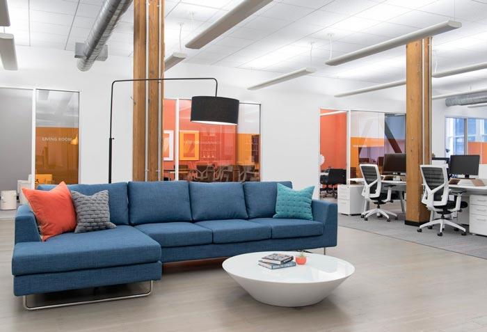 广告公司办公室进门区域装修设计案例效果图