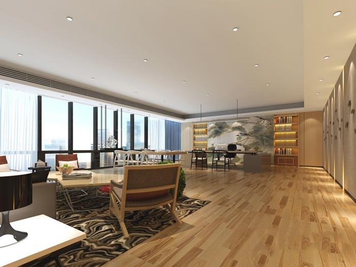 进出口贸易办公室装修设计案例效果图_岚设计玉雕弥勒佛图片