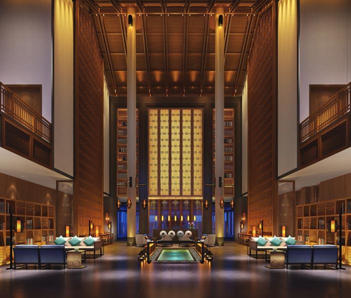 度假酒店大厅装修设计案例效果图