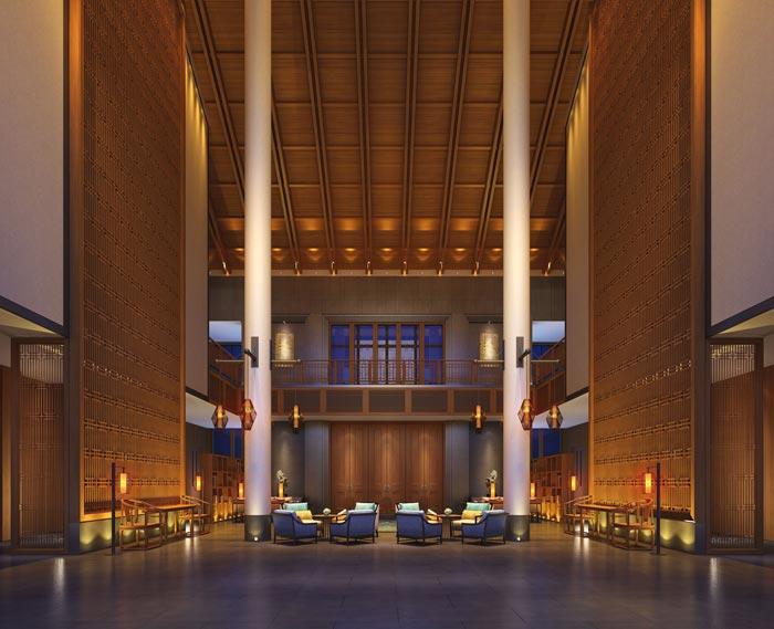 度假酒店大厅接待区域装修设计案例效果图