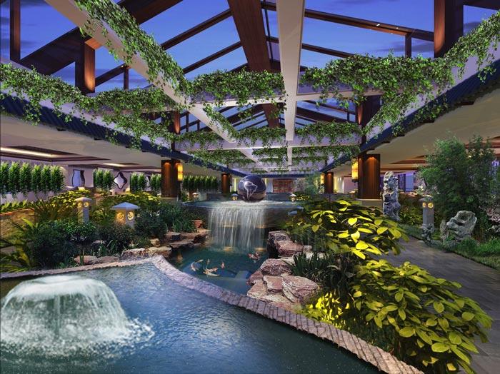 度假酒店室内观赏区装修设计案例效果图