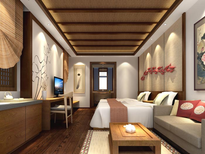 度假酒店单人客房装修设计案例效果图