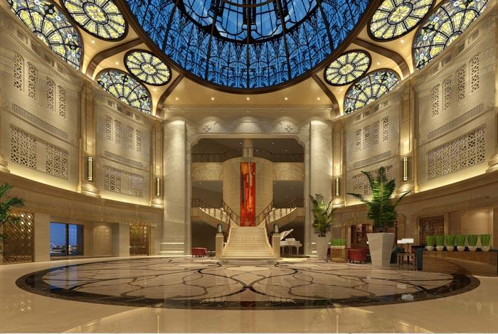 四星级商务酒店前台装修设计案例效果图