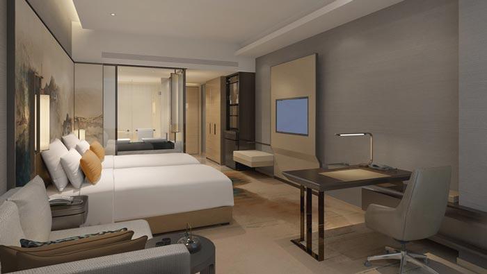 连锁商务酒店客房A型装修设计案例效果图