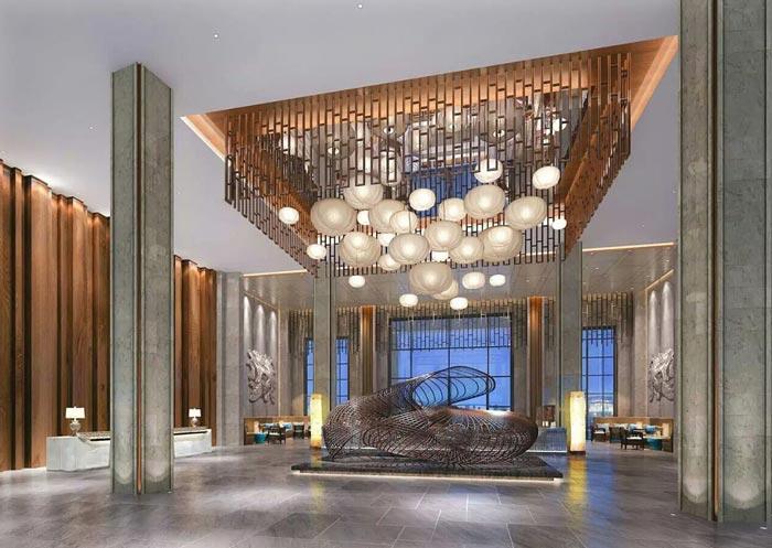 连锁商务酒店大厅装修设计案例效果图