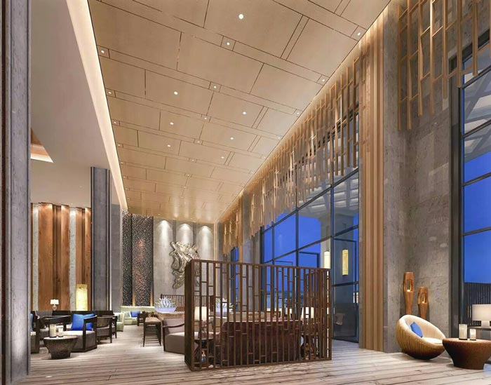 连锁商务酒店大厅接待区装修设计案例效果图