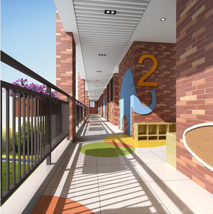 国际双语幼儿园走廊装修设计案例
